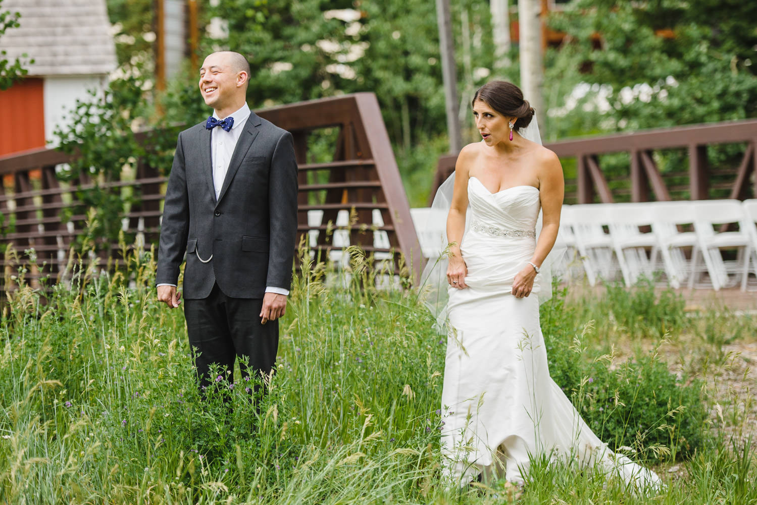 Red Pine Lodge first look wedding photo