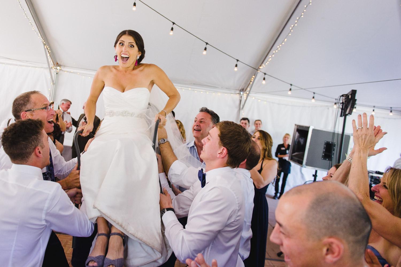 Red Pine Lodge bride Jewish horah dance wedding photo