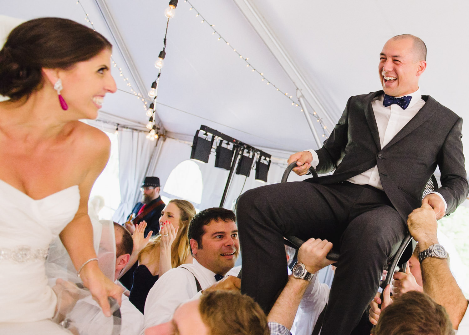 Red Pine Lodge bride and groom Jewish horah dance wedding photo