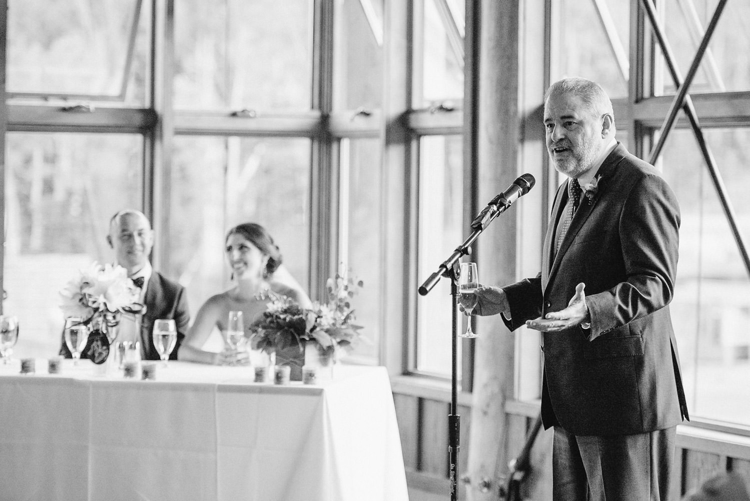 Red Pine Lodge father giving speech wedding photo
