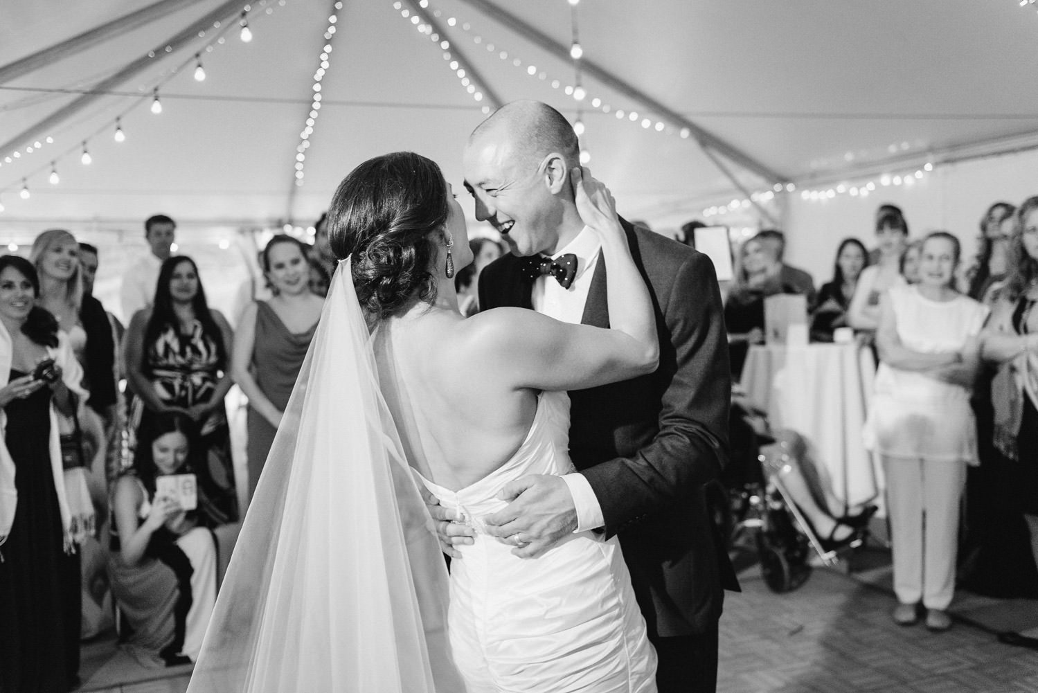 Red Pine Lodge bride and groom first dance wedding photo