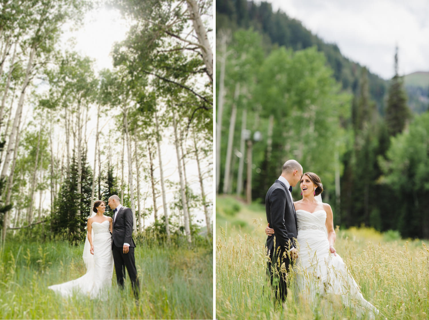 Red Pine Lodge bride and groom in a meadow wedding photo