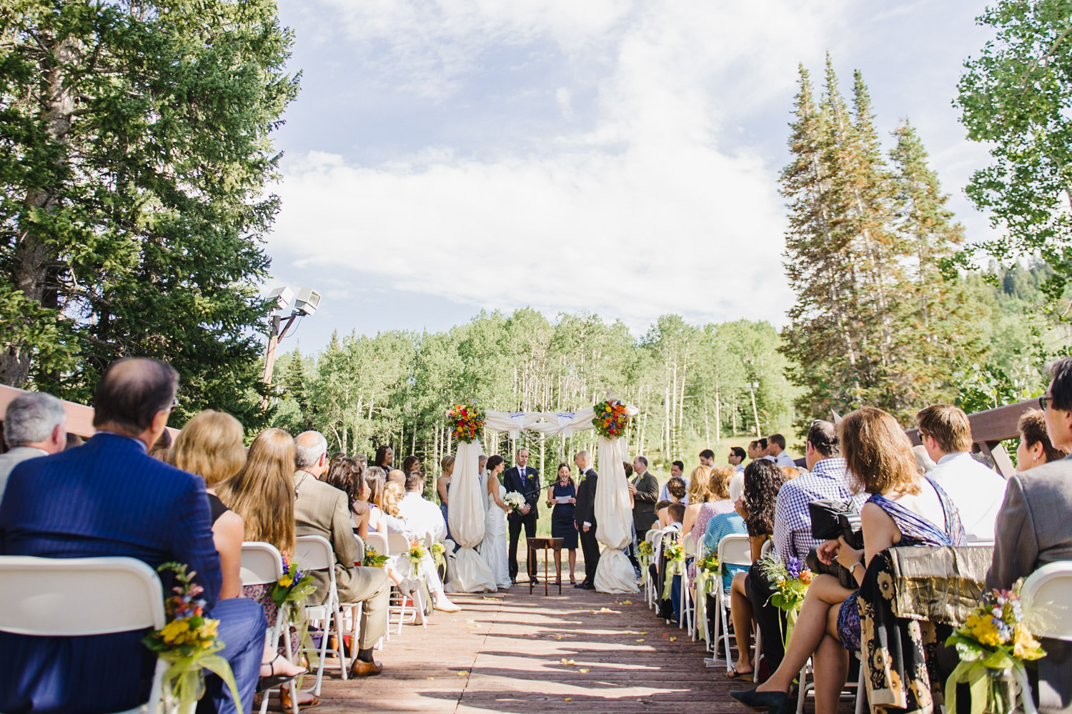 Red Pine Lodge bride and groom ceremony wedding photo
