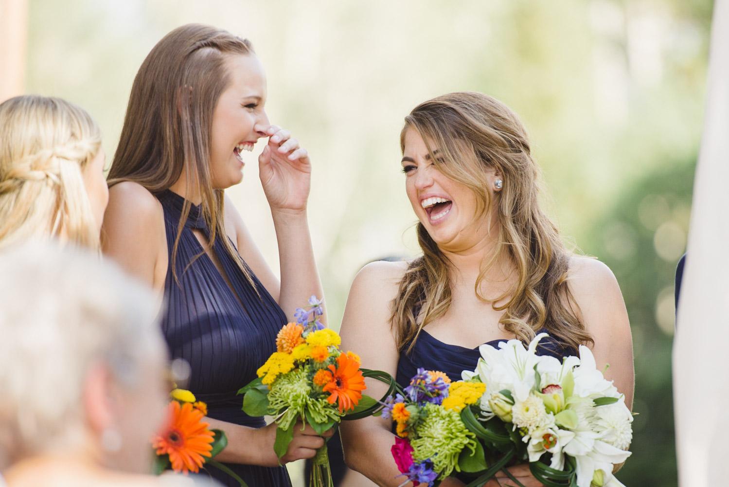 Red Pine Lodge bridesmaids laughing wedding photo
