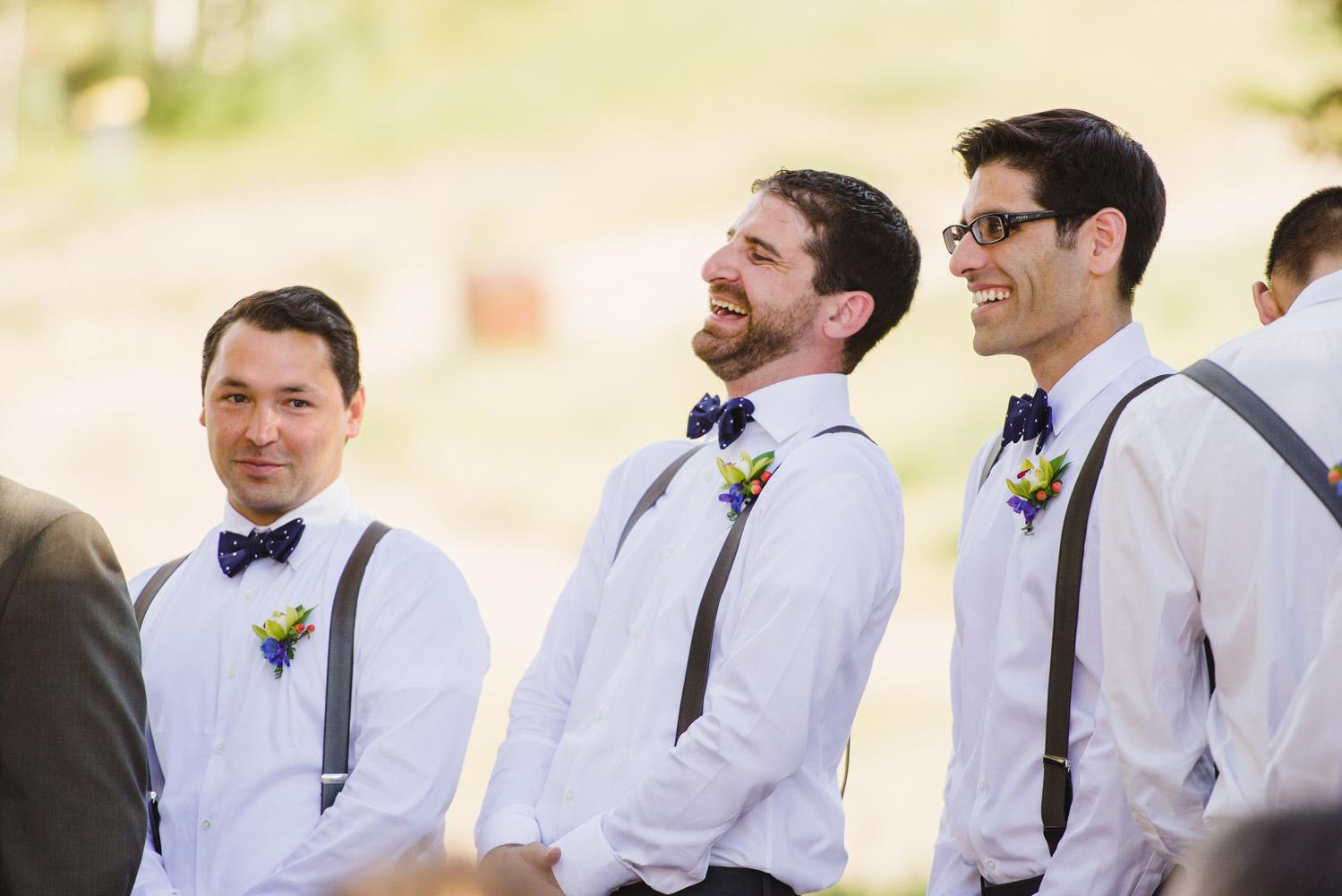 Red Pine Lodge groomsmen laughing wedding photo