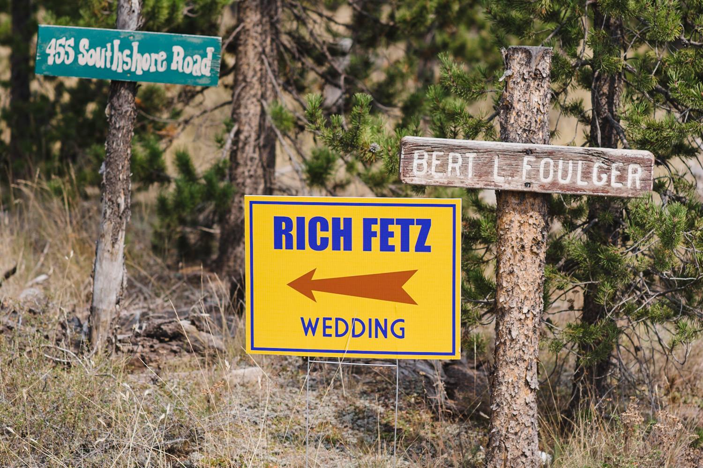 West Yellowstone Wedding sign to the wedding photo