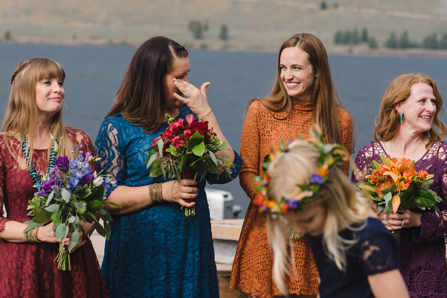 West Yellowstone Wedding bridesmaids laughing and crying photo