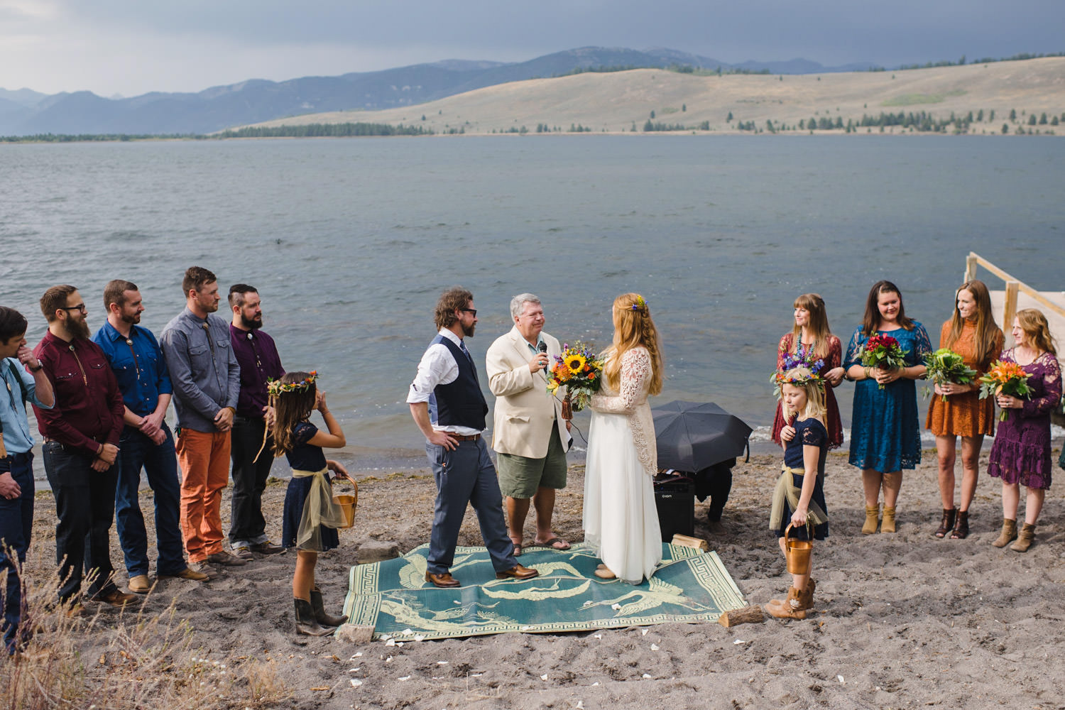 West Yellowstone Wedding officiant leading the ceremony photo