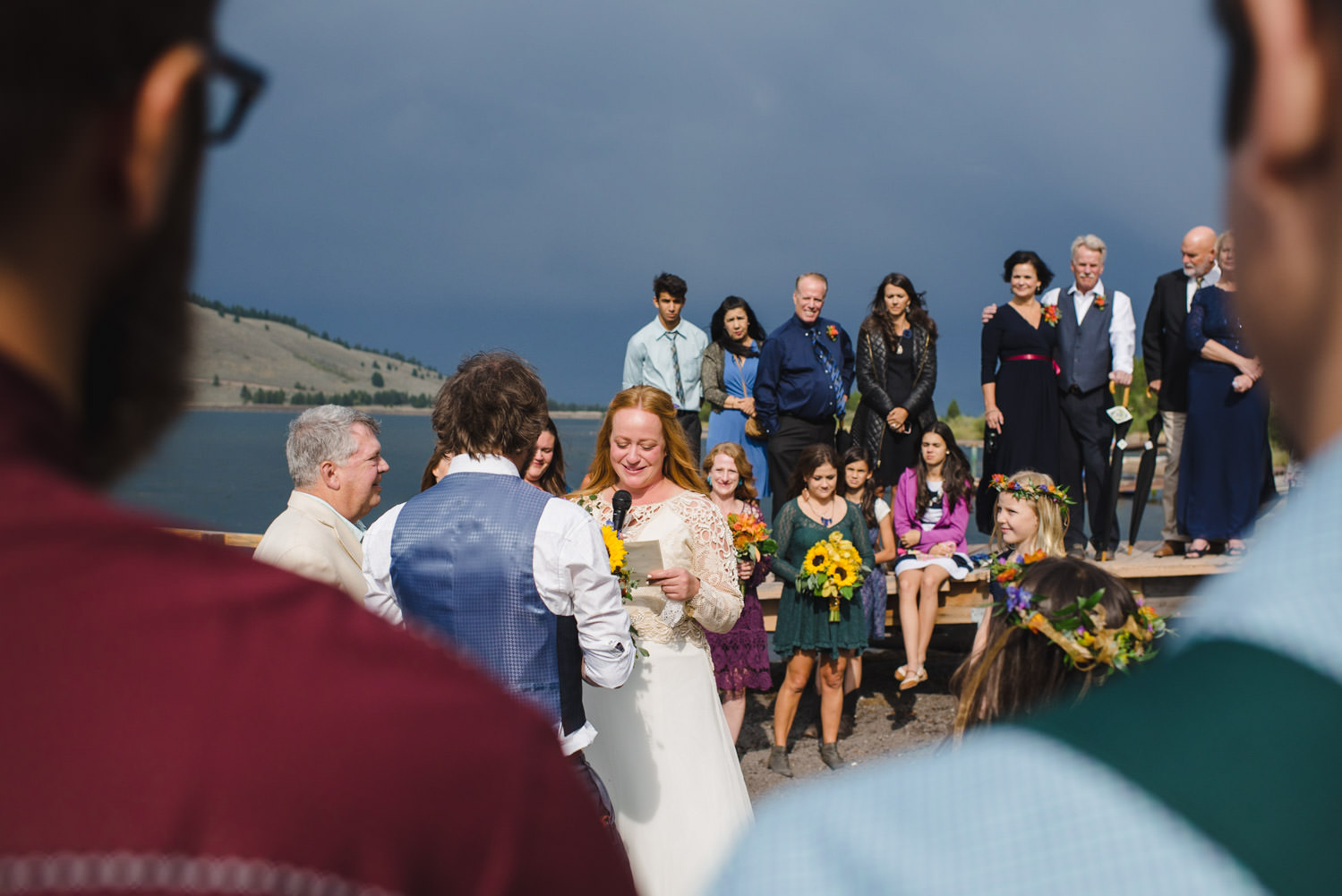 West Yellowstone Wedding bride saying her vows photo