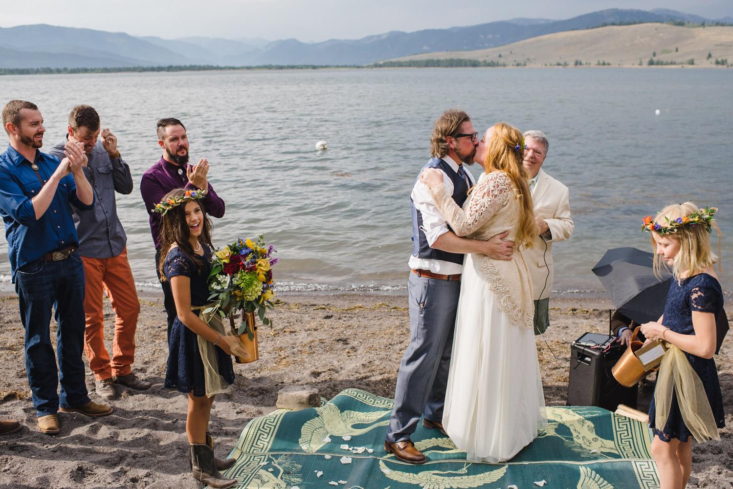West Yellowstone Wedding newlywed's first kiss photo