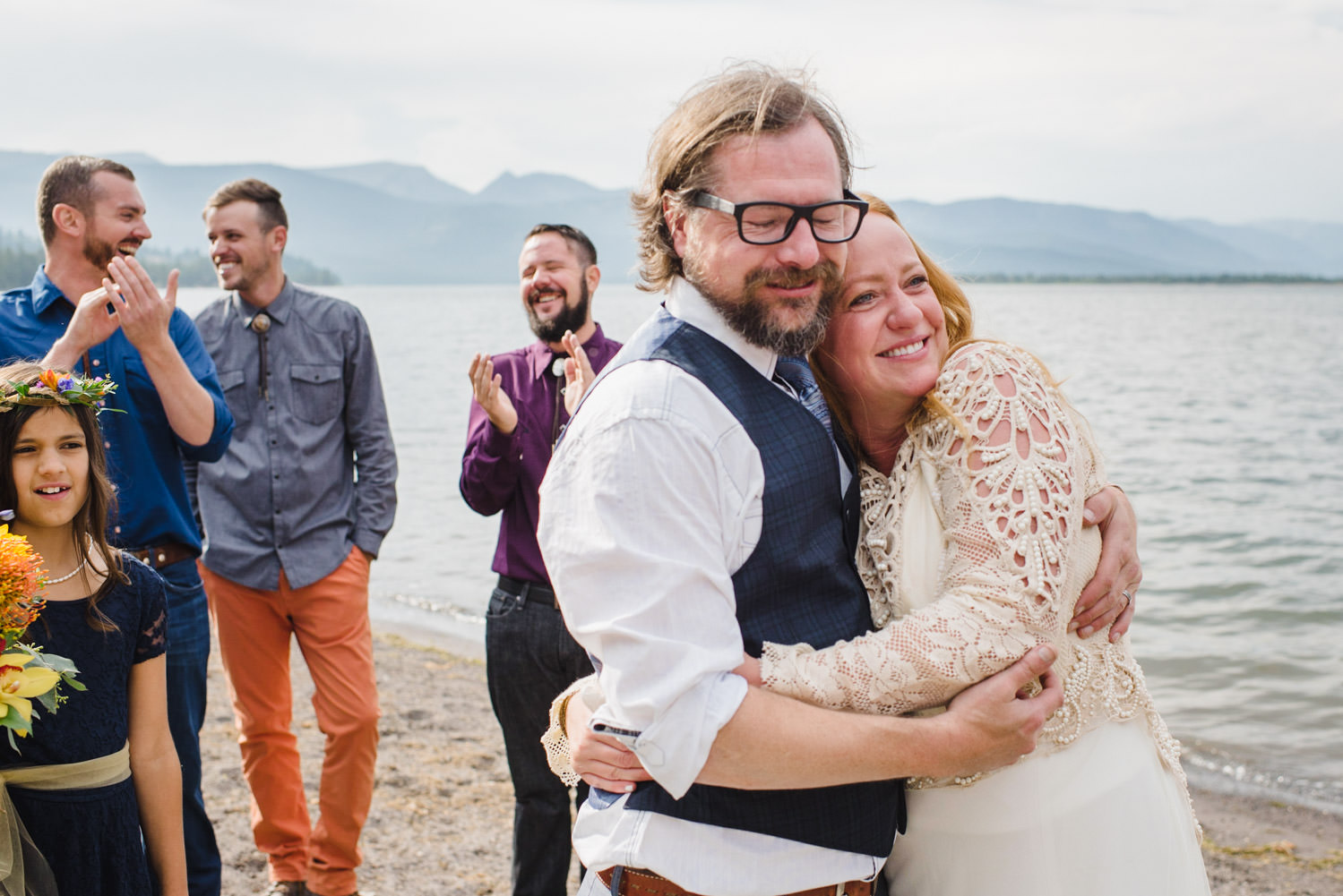 West Yellowstone Wedding bride and groom smiling photo
