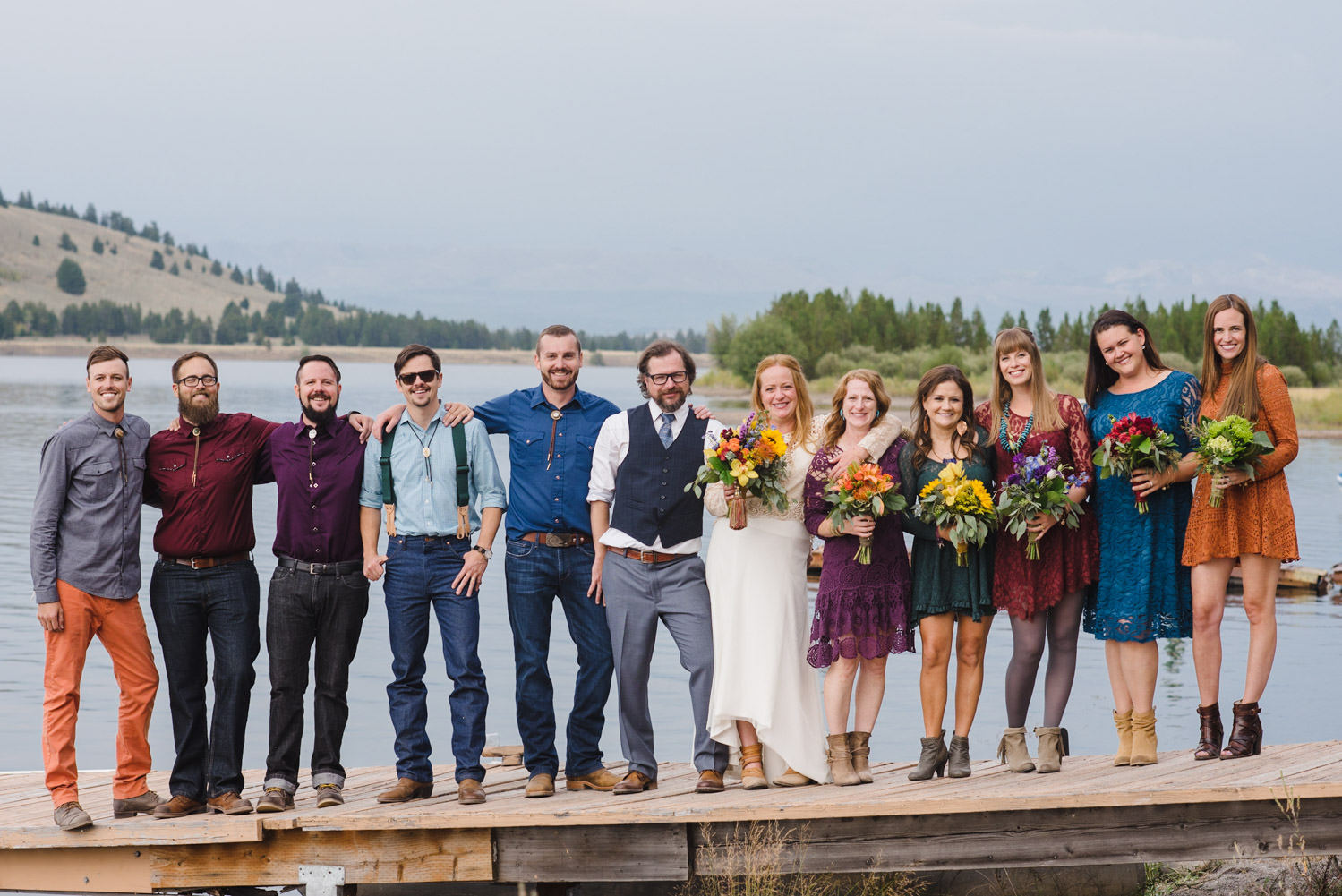 West Yellowstone Wedding newlyweds and their wedding party photo