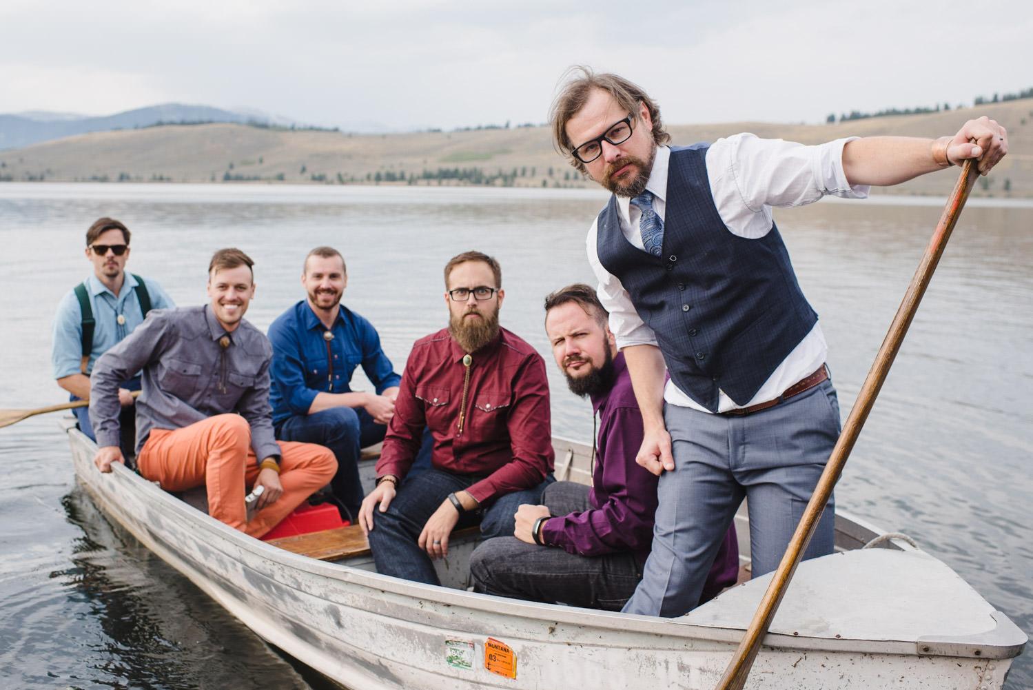 West Yellowstone Wedding groom and his groomsmen photo