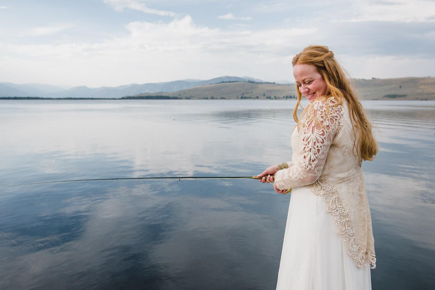West Yellowstone Wedding bride laughing photo