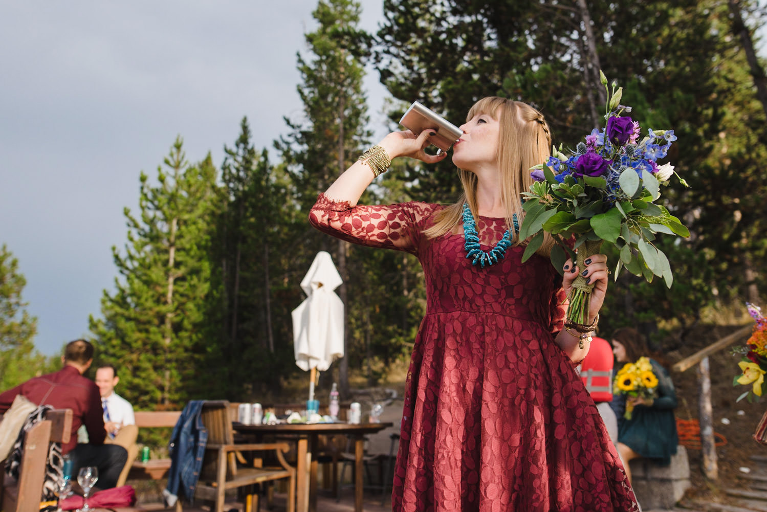 West Yellowstone Wedding bridesmaid with a flask photo