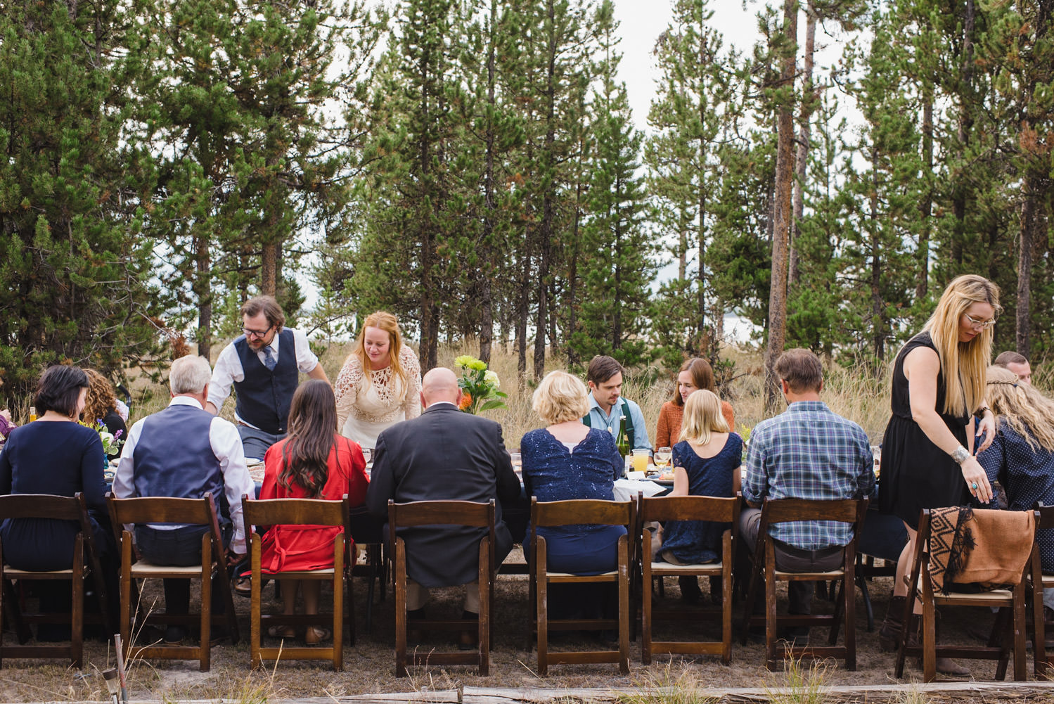 West Yellowstone Wedding family and friends at dinner photo