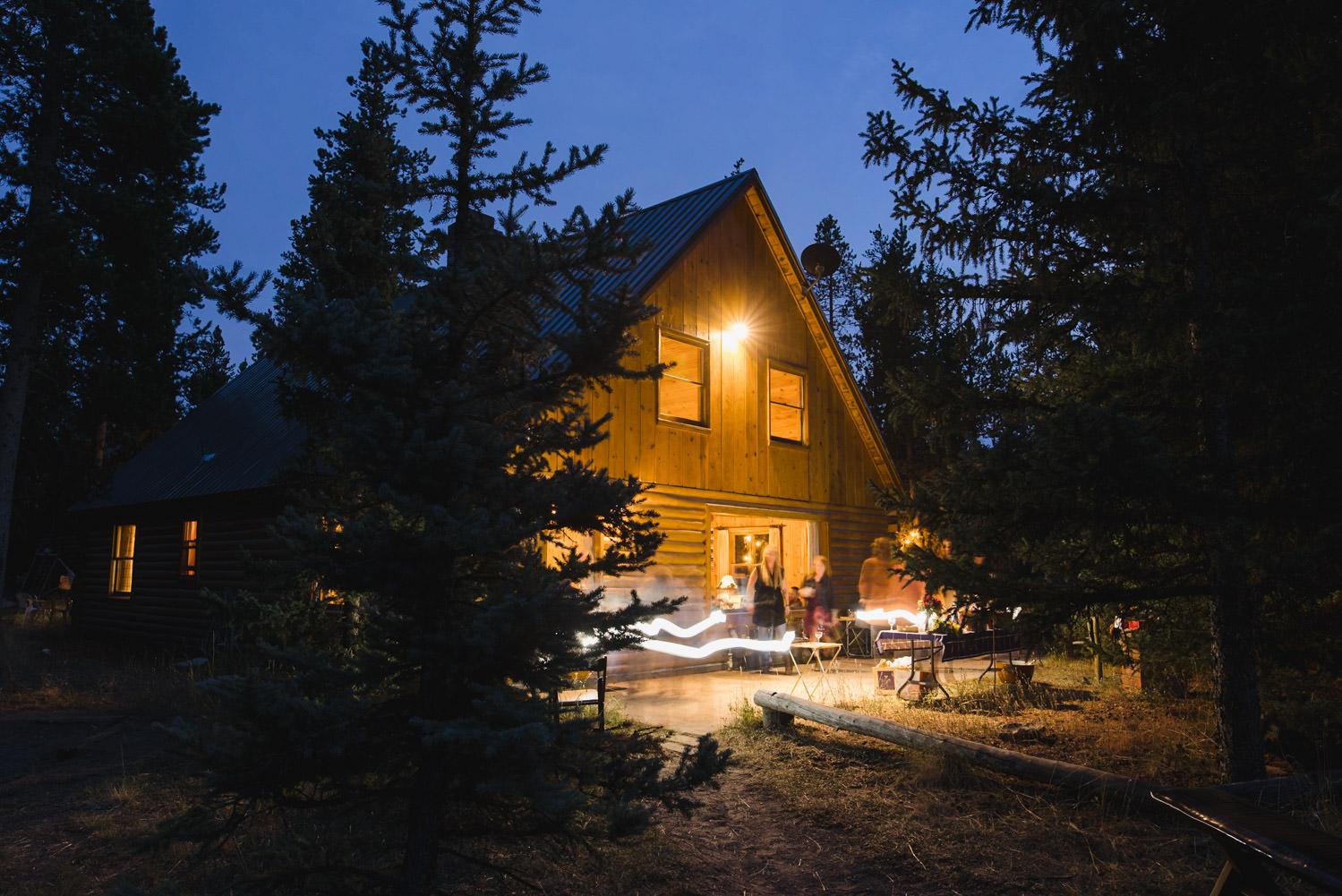 West Yellowstone Wedding lodge at dusk photo