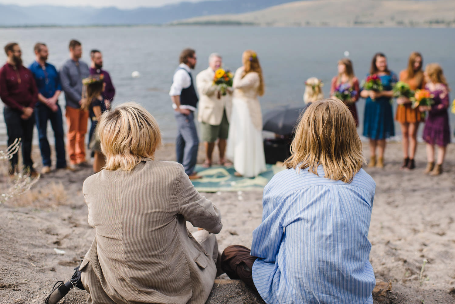 West Yellowstone Wedding kids watching the ceremony photo