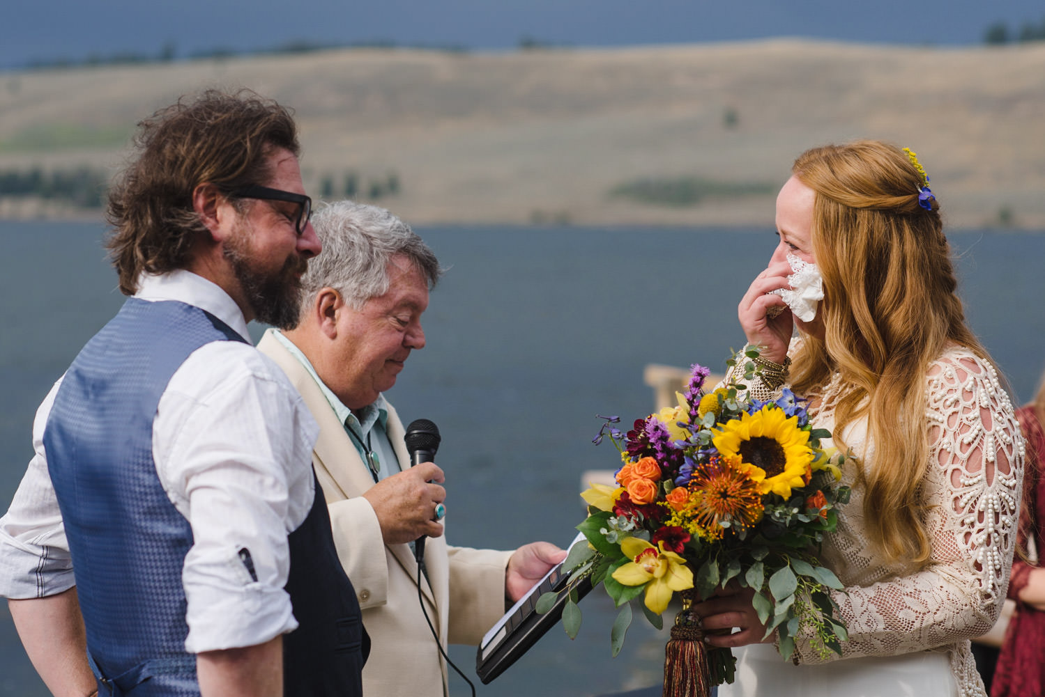 West Yellowstone Wedding bride and groom saying vows photo