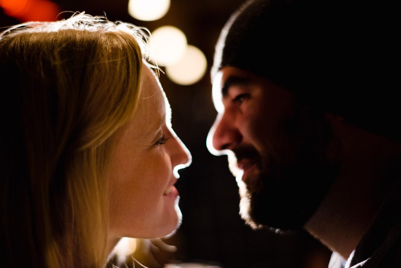 Burlington, Vermont Autumn Engagement woman smiling at her fiancé photo