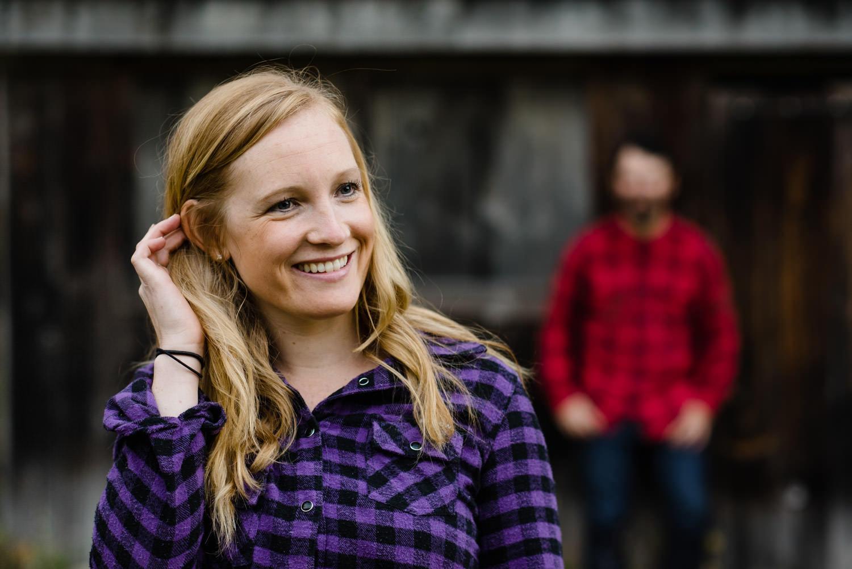 Burlington, Vermont Autumn Engagement fiancée smiling photo