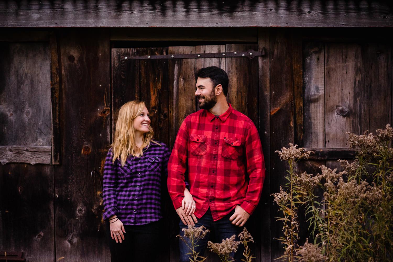 Burlington, Vermont Autumn Engagement couple arm-in-arm photo