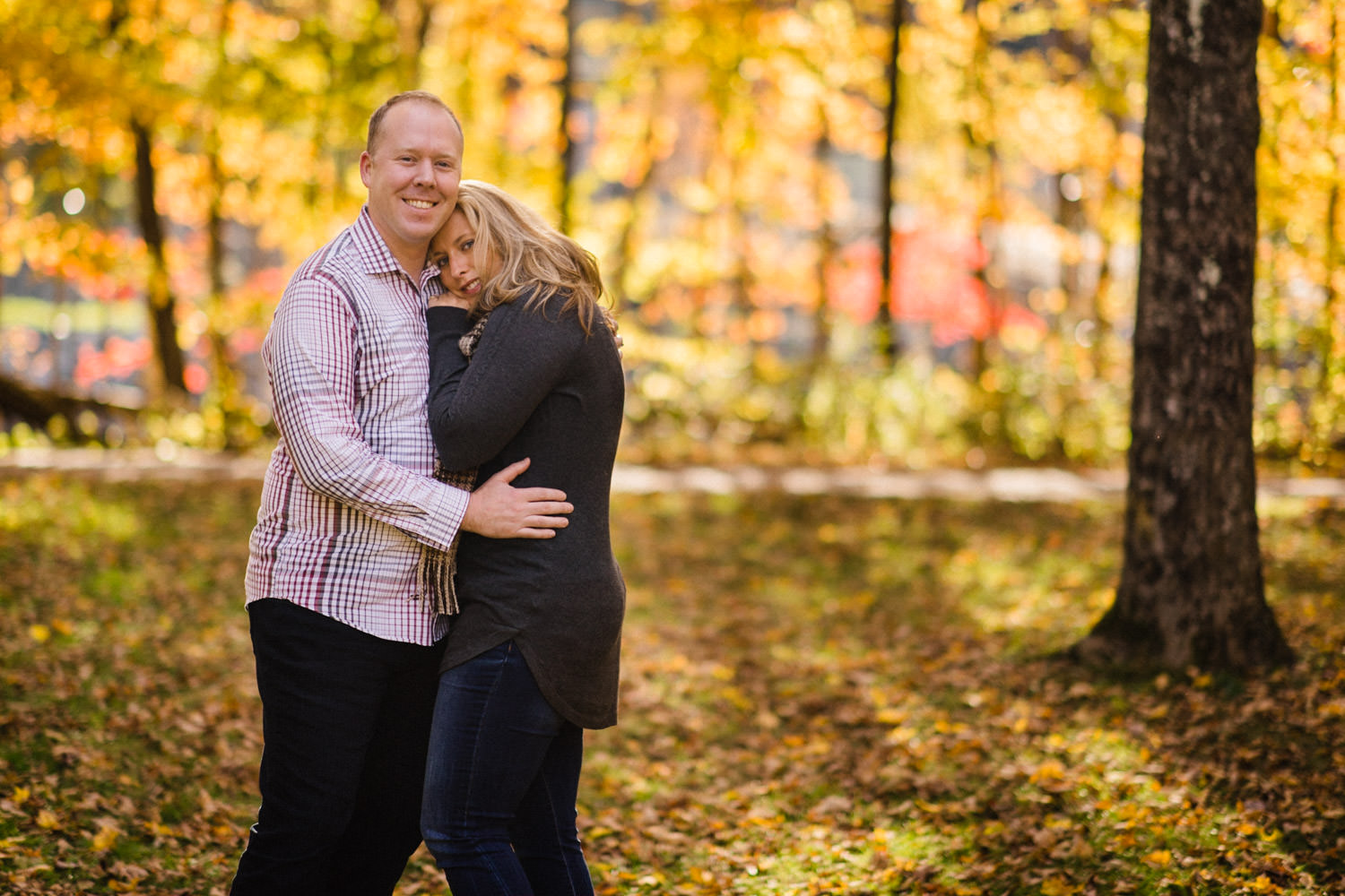 Vermont Fall Colors Engagement bride and groom to be photo