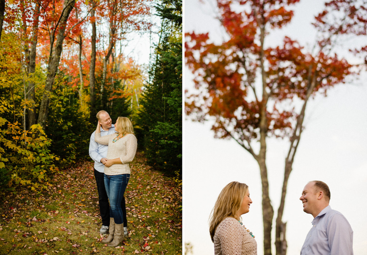 Vermont Fall Colors Engagement couple smiling at each other photo
