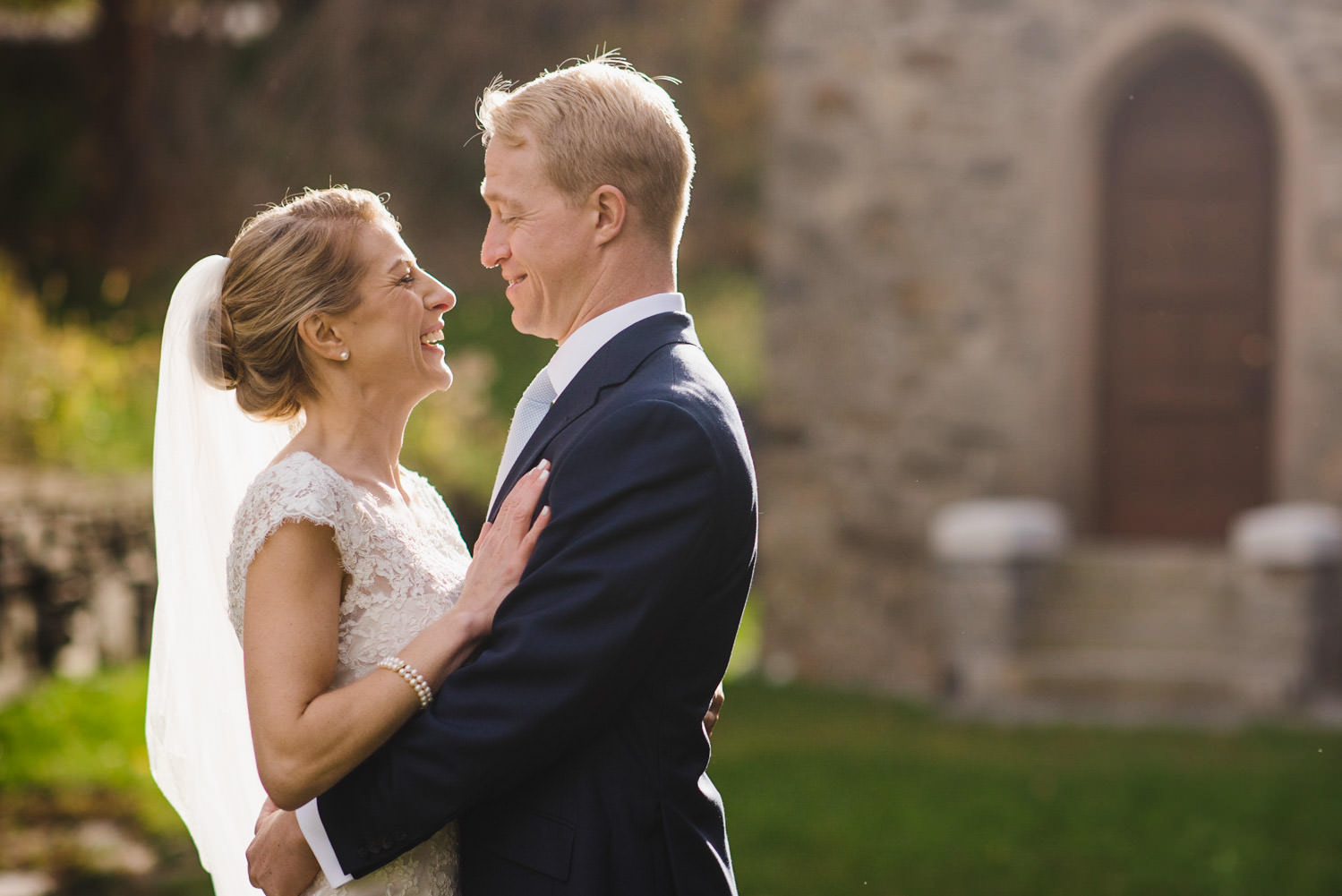 Woodstock, Vermont Wedding bride and groom smiling photo