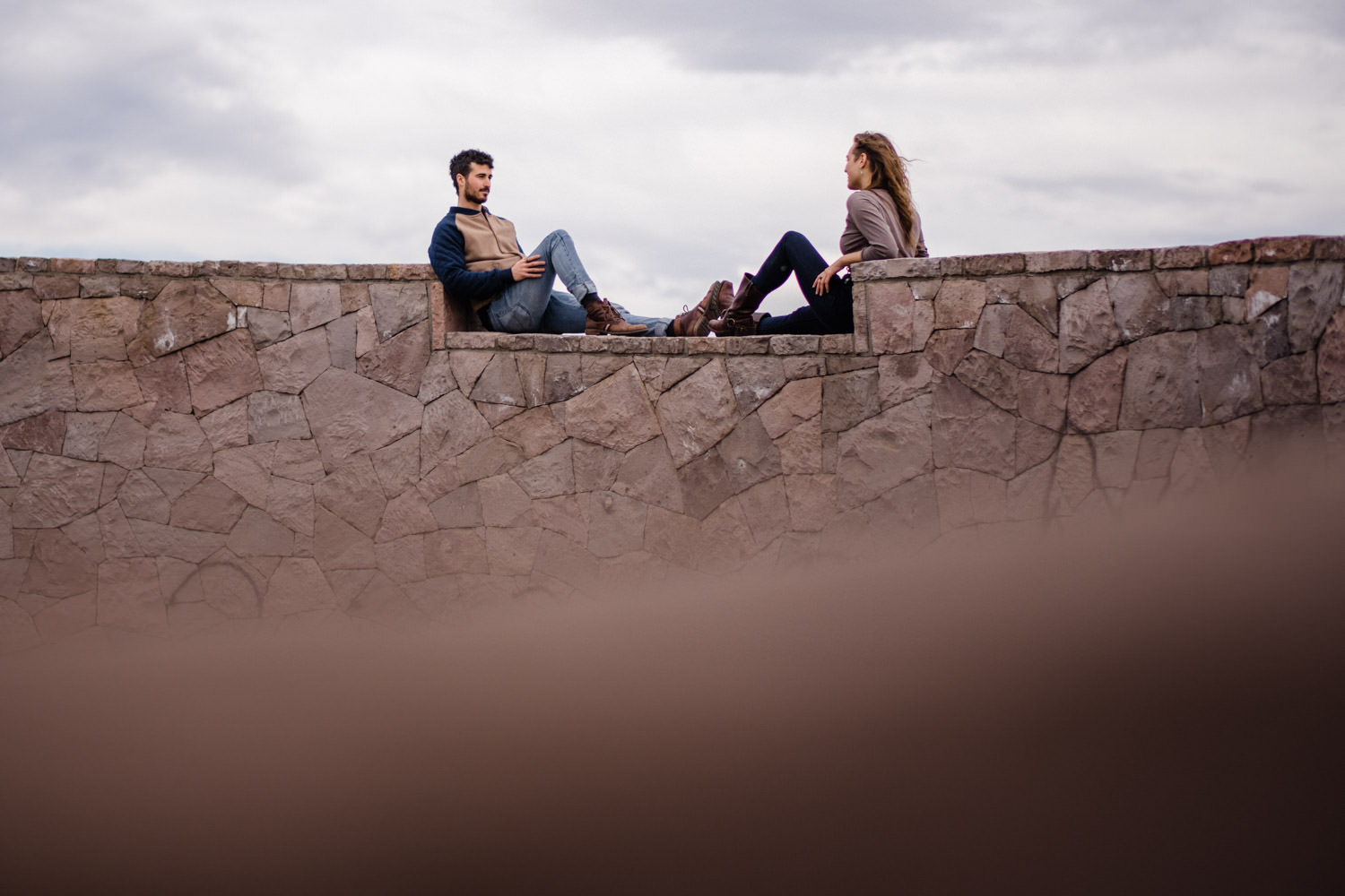 Downtown Denver Engagement Session couple relaxing photo