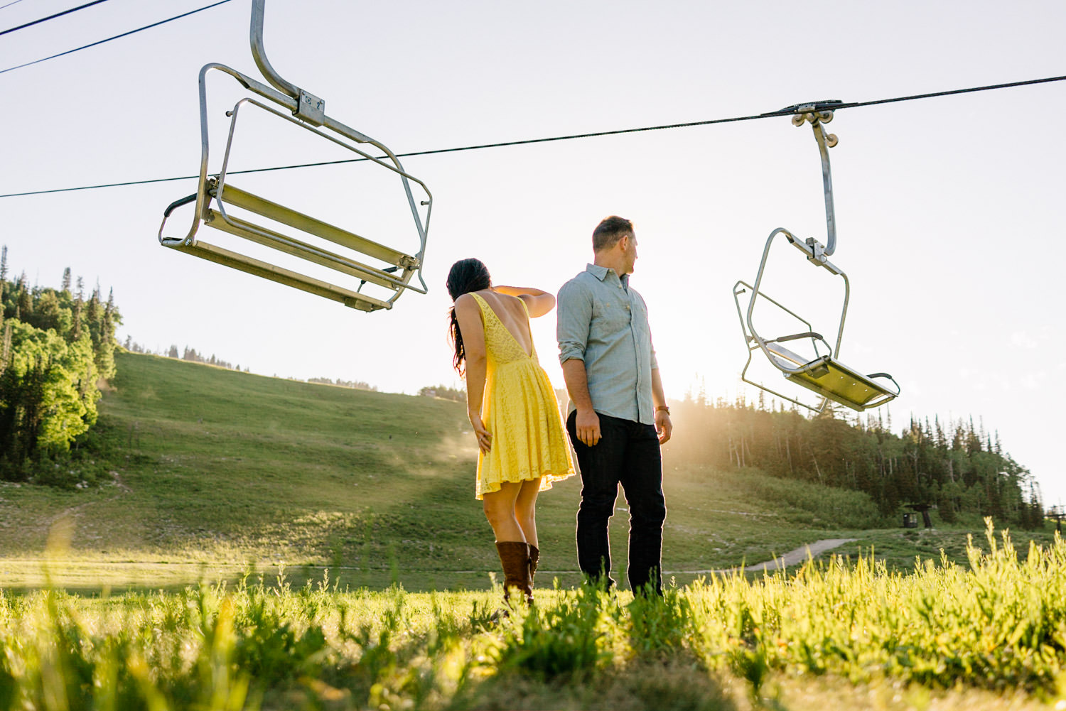 Solitude Mountain Resort Engagement couple enjoying the sunshine photo