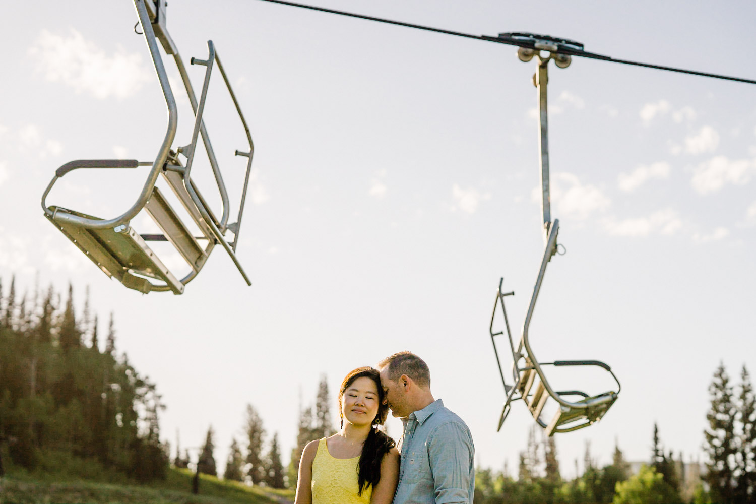 Solitude Mountain Resort Engagement couple sharing an intimate moment photo