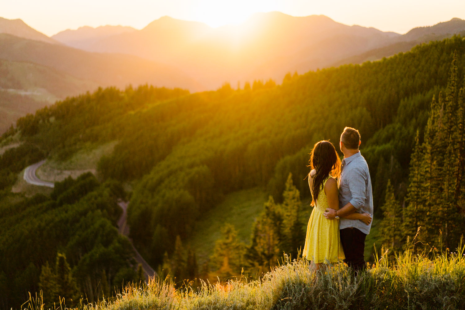 Solitude Mountain Resort Engagement couple watching the sunset photo