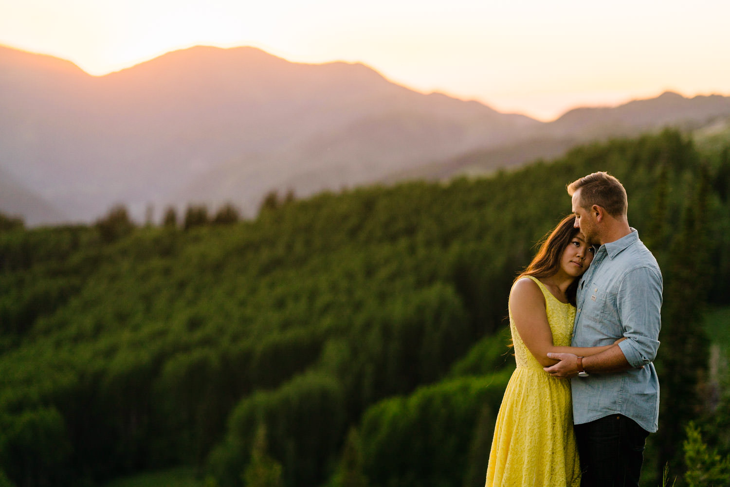 Solitude Mountain Resort Engagement couple embracing photo