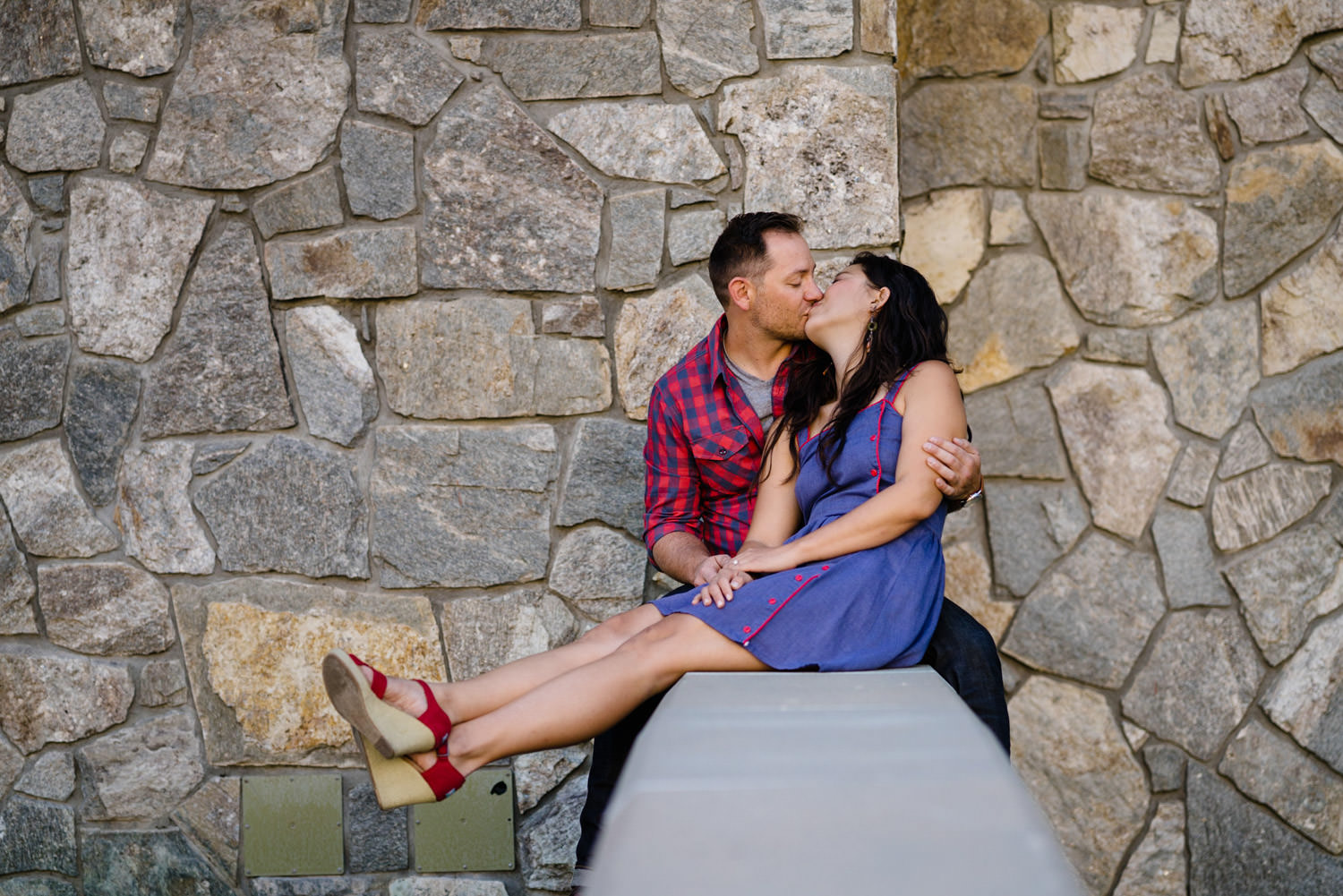 Solitude Mountain Resort Engagement couple kissing photo
