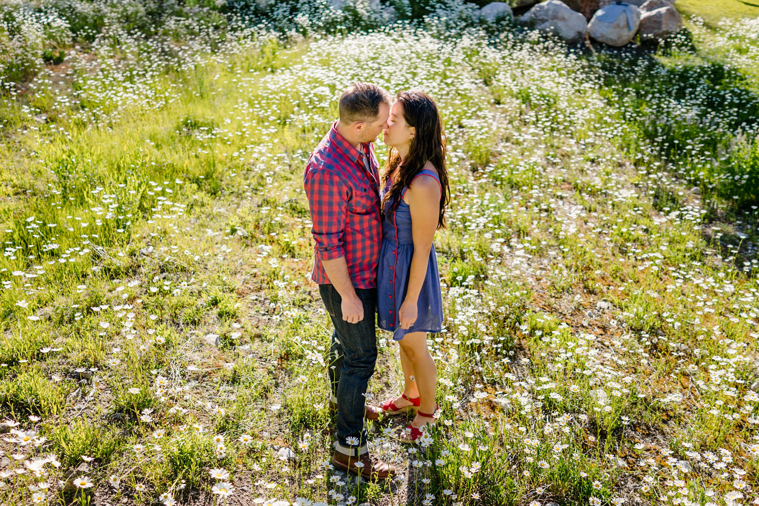 Solitude Mountain Resort Engagement couple leaning in for a kiss photo