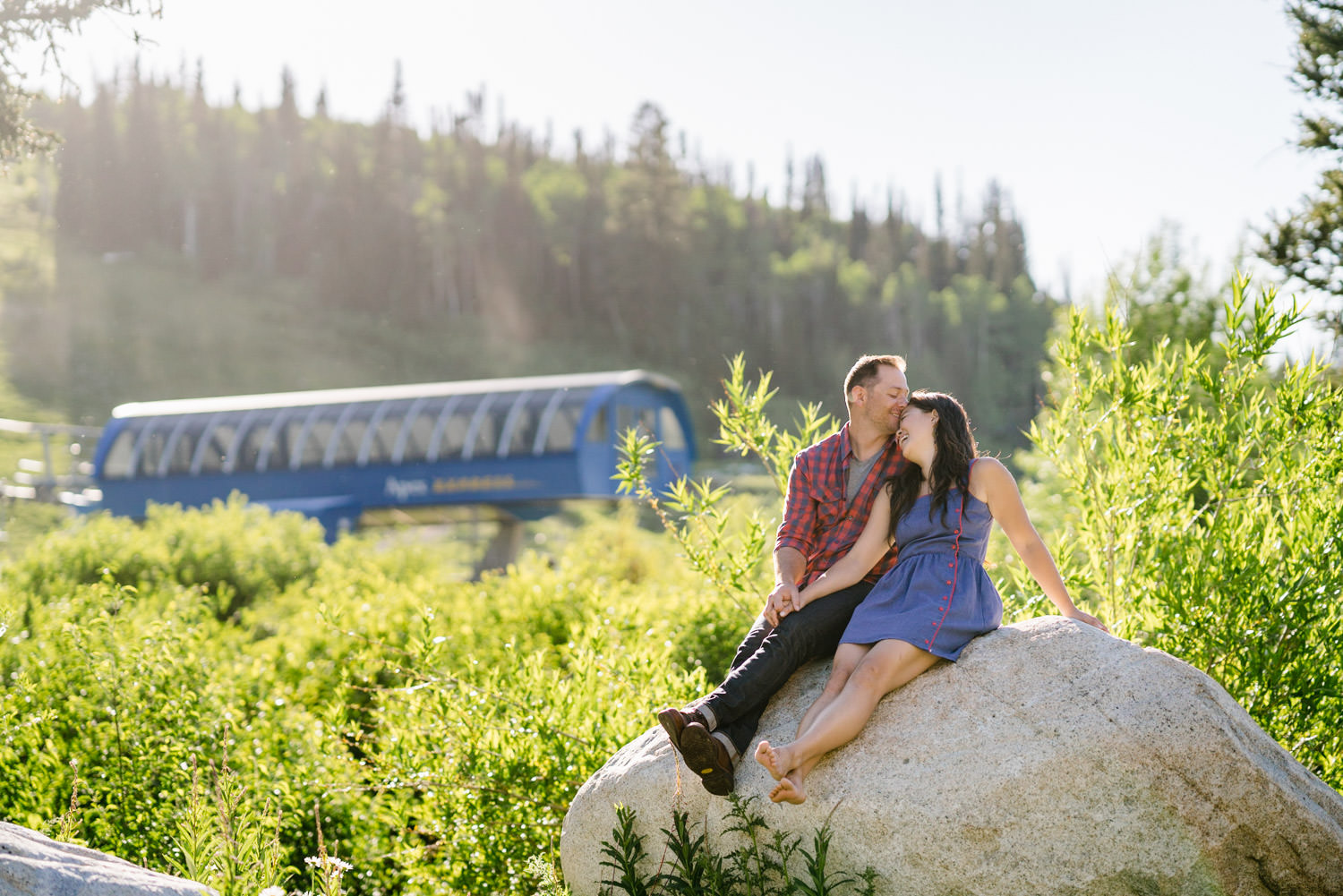 Solitude Mountain Resort Engagement couple laughing in the mountains photo