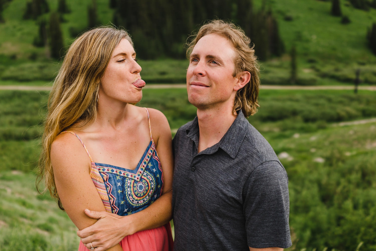 Alta Ski Area Engagement couple being goofy photo