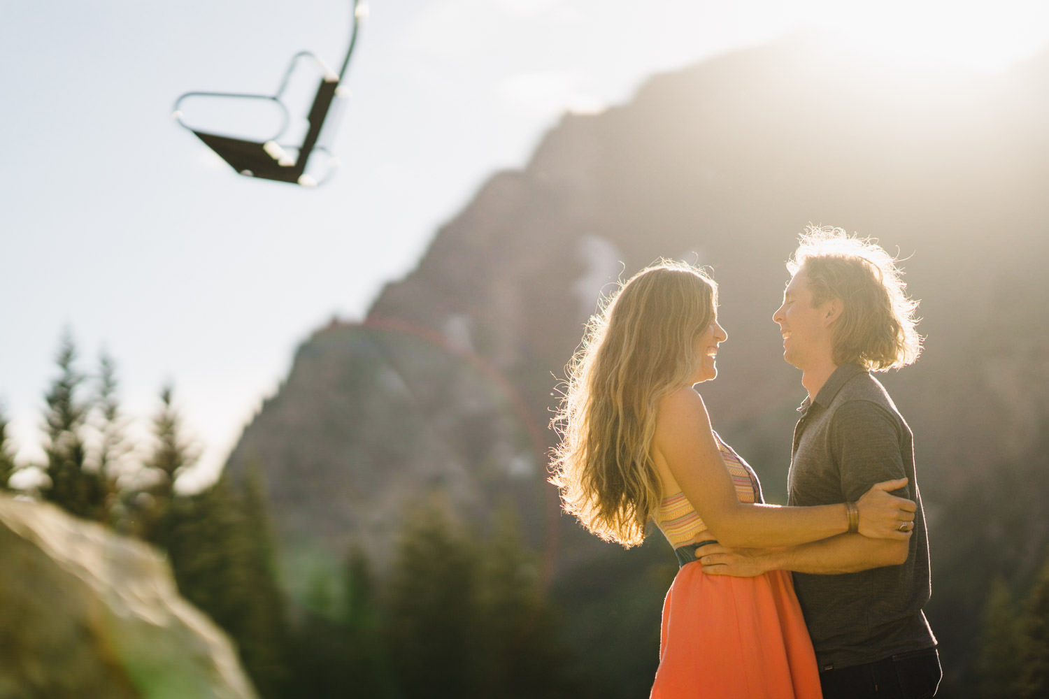 Alta Ski Area Engagement couple laughing photo