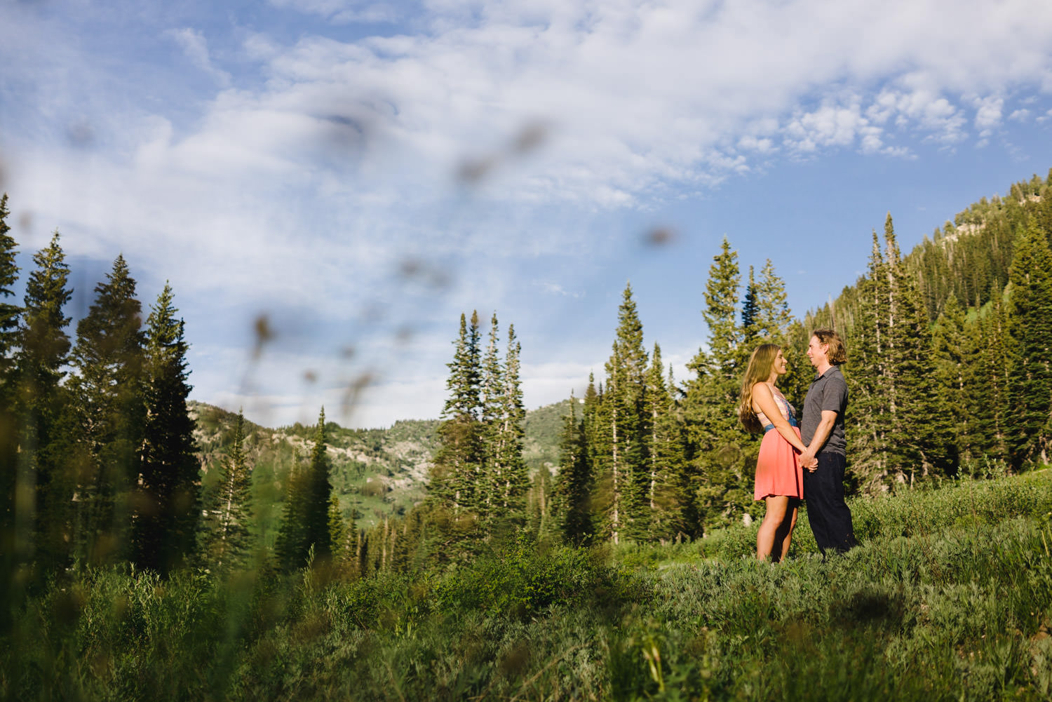 Alta Ski Area Engagement couple holding hands in a meadow photo