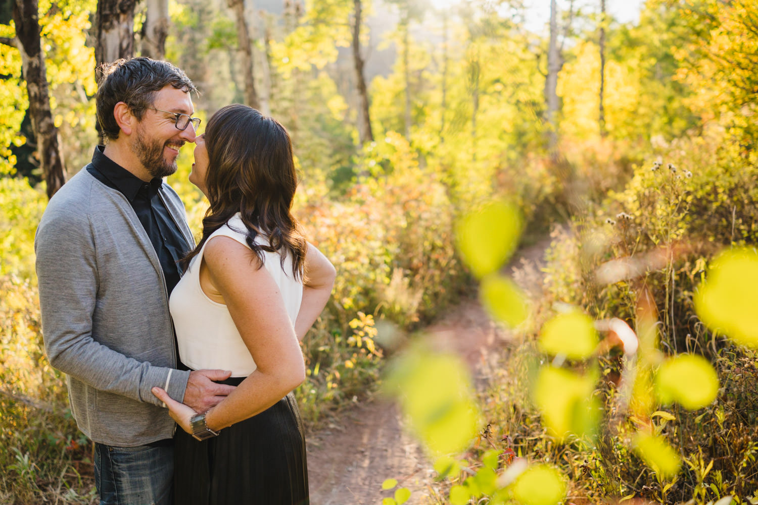 Millcreek Engagement couple leaning in to kiss photo