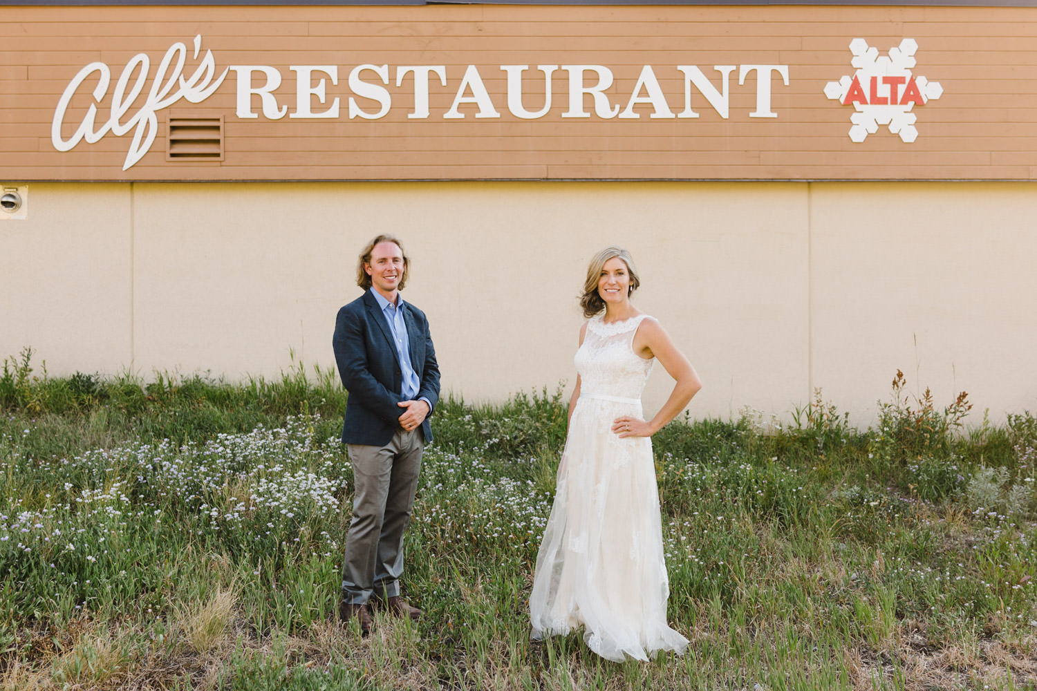 Alta Wedding bride and groom at Alf's Restaurant photo