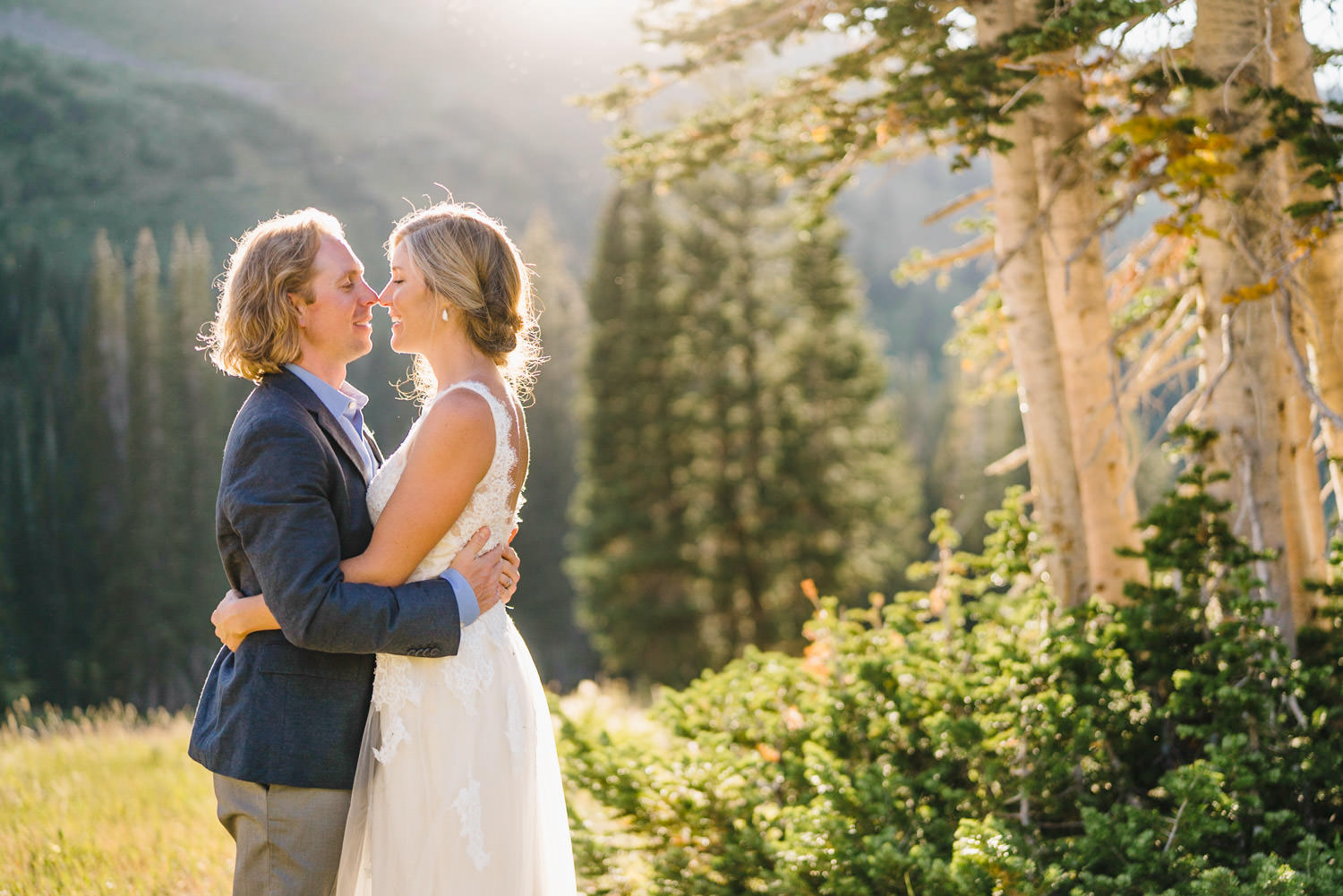 Alta Wedding bride and groom kissing photo