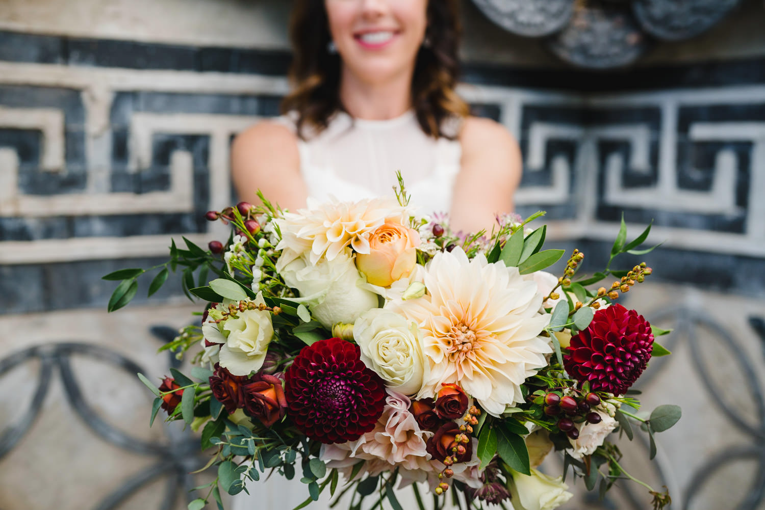 International Peace Gardens Wedding bridal bouquet photo