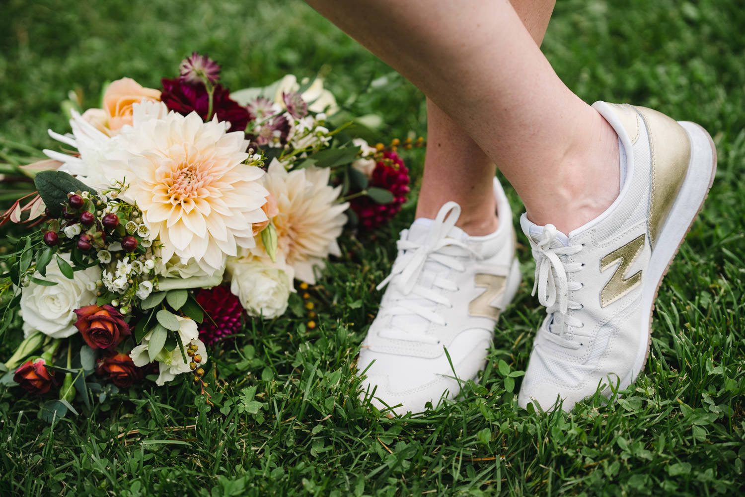 International Peace Gardens Wedding bride's bouquet and shoes photo