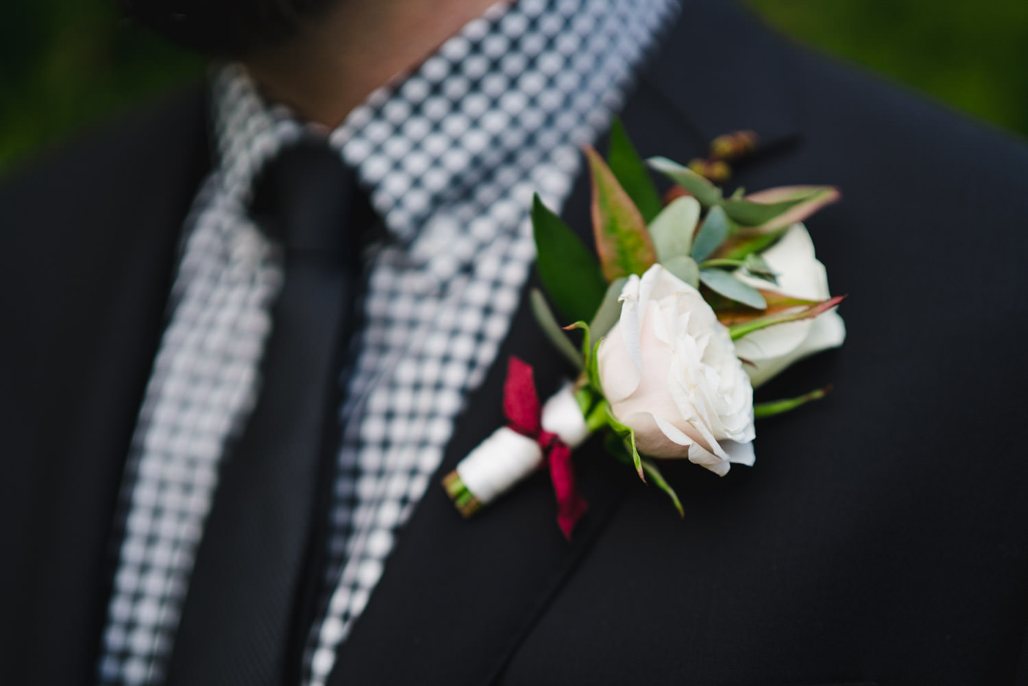 International Peace Gardens Wedding groom's boutonniere photo