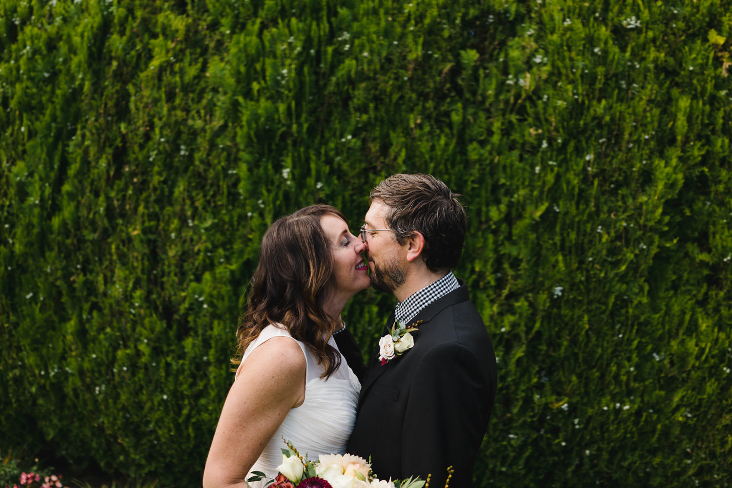 International Peace Gardens Wedding bride and groom kissing photo