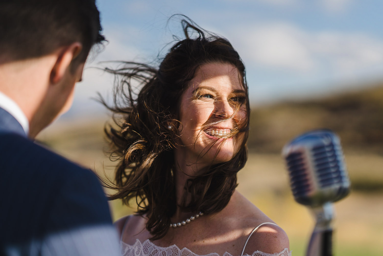Tuhaye Golf Club Wedding bride smiling at the alter photo