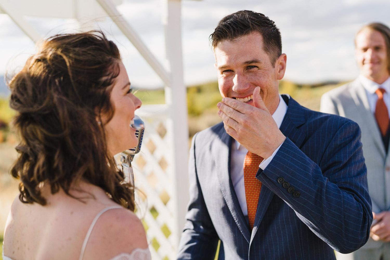 Tuhaye Golf Club Wedding groom laughing photo