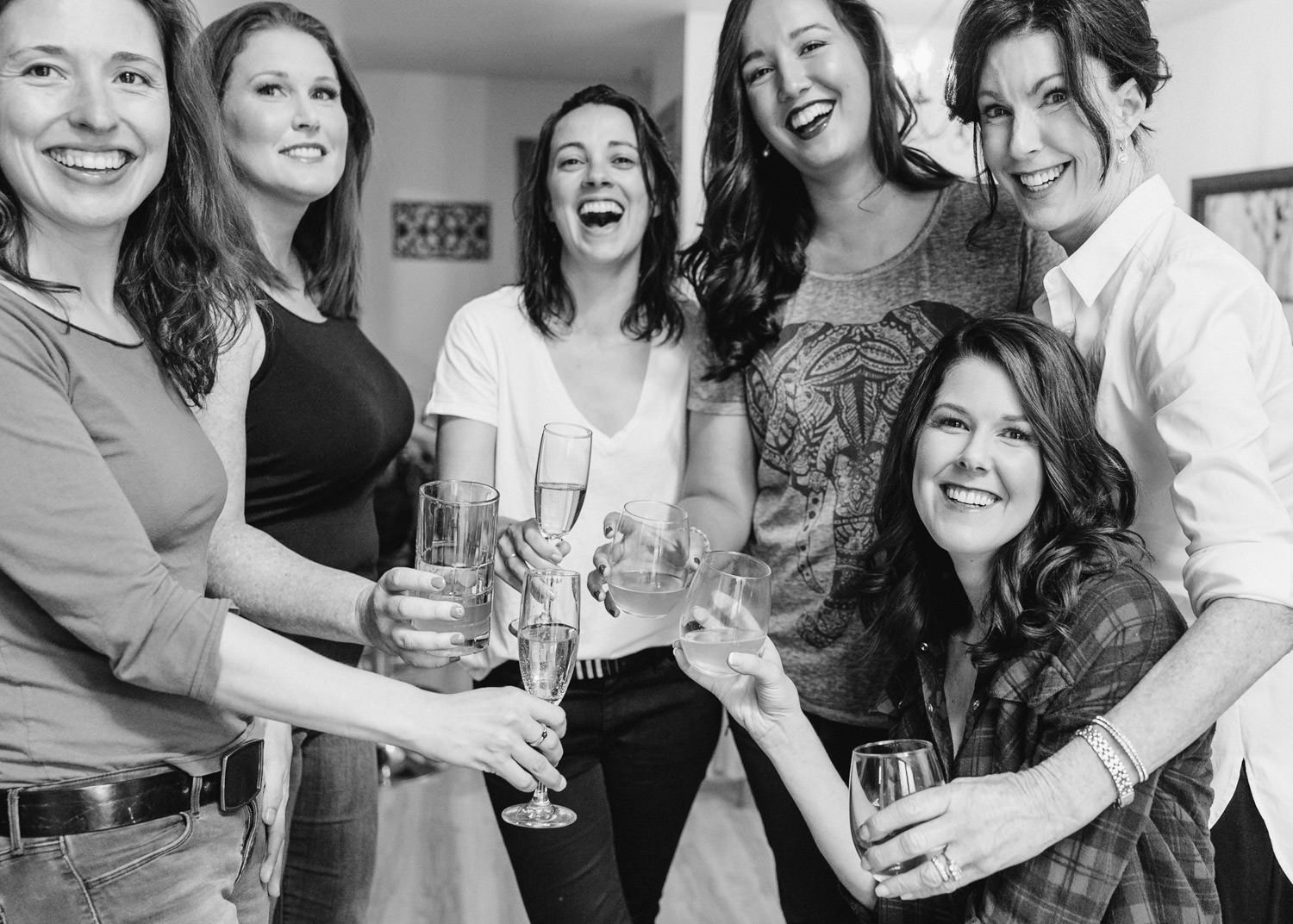 Tuhaye Golf Club Wedding In Park City bridal party with champagne photo